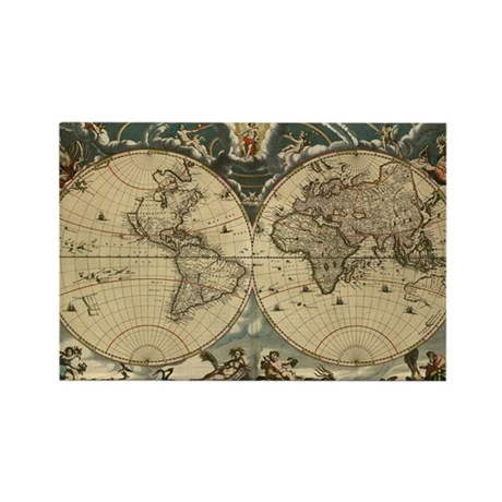 17th century world map - Rectangle Magnet