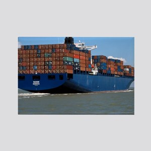 Container ship at sea - Rectangle Magnet