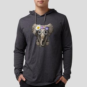 Cute Baby Elephant Hippie Mens Hooded Shirt