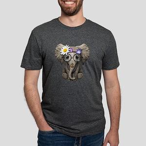 Cute Baby Elephant Hippie Mens Tri-blend T-Shirt