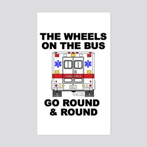 Ambulance Wheels Go Round Rectangle Sticker