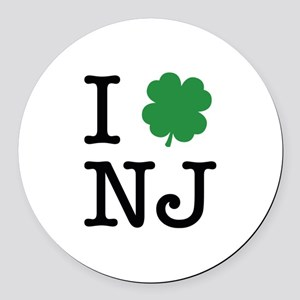 I Shamrock NJ Round Car Magnet