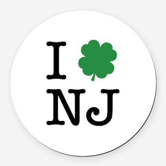 I Shamrock NJ Round Car Magnet