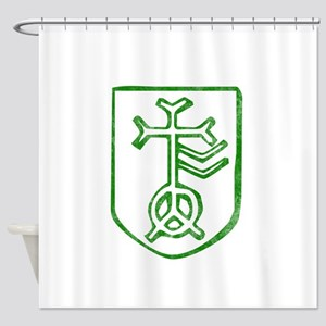 Pretty green christian cross 4 L f Shower Curtain