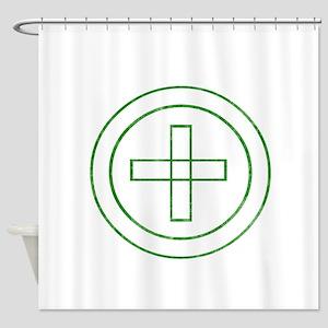 Pretty green christian cross 4 U F Shower Curtain