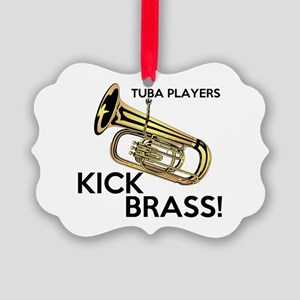 Tuba Players Kick Brass Ornament