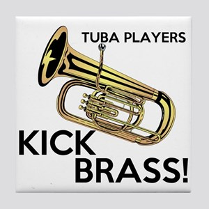 Tuba Players Kick Brass Tile Coaster
