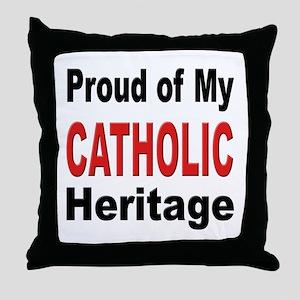 Proud Catholic Heritage Throw Pillow