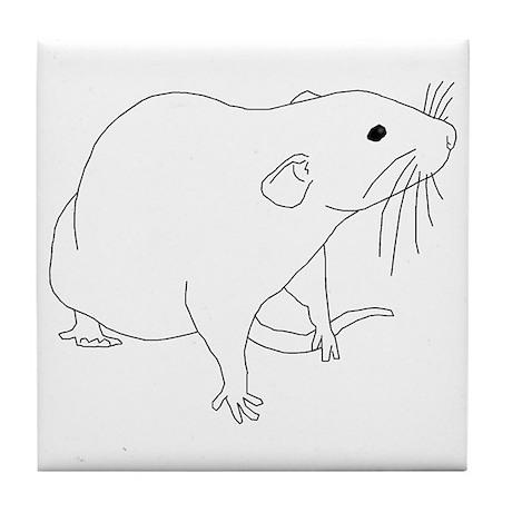 Rat Outline Tile Coaster