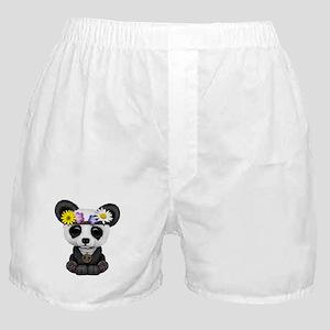Cute Baby Panda Hippie Boxer Shorts