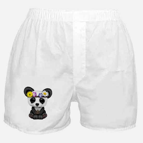 Cute Baby Panda Hippie Boxer Shorts
