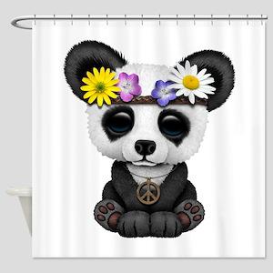 Cute Baby Panda Hippie Shower Curtain