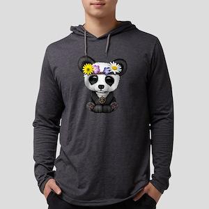 Cute Baby Panda Hippie Mens Hooded Shirt