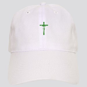 Pretty green christian cross 5 L y Baseball Cap