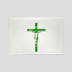 Pretty green christian cross 5 L y Rectangle Magne