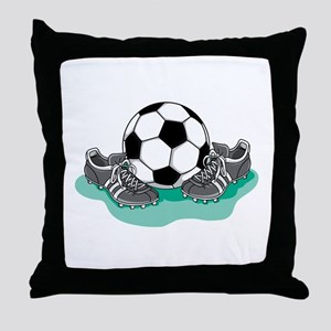 Soccer Ball and Cleats Throw Pillow