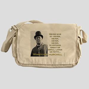 Never Give In - Churchill Messenger Bag