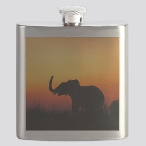 Elephant at Sunset Flask
