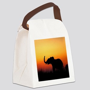 Elephant at Sunset Canvas Lunch Bag