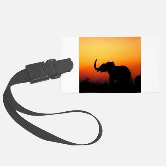 Elephant at Sunset Luggage Tag