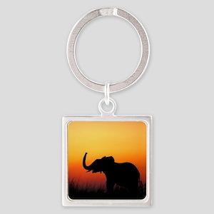 Elephant at Sunset Square Keychain