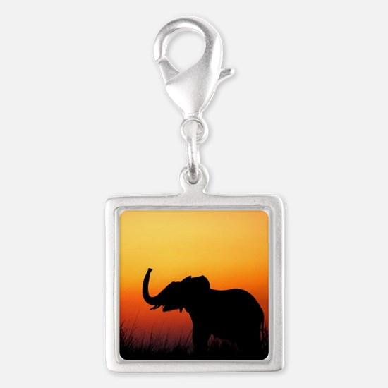 Elephant at Sunset Silver Square Charm