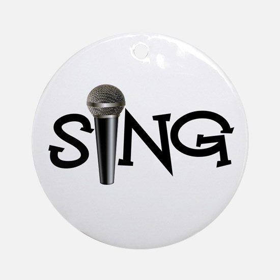 Sing with Microphone Ornament (Round)