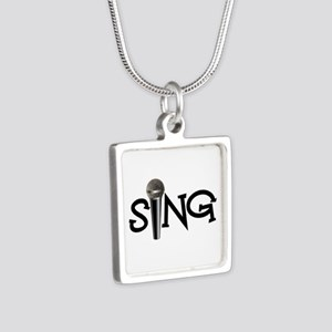 Sing with Microphone Silver Square Necklace
