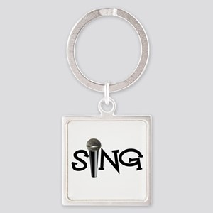 Sing with Microphone Square Keychain
