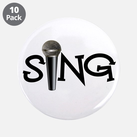 """Sing with Microphone 3.5"""" Button (10 pack)"""