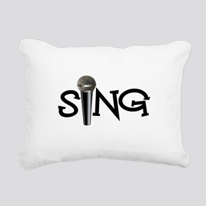 Sing with Microphone Rectangular Canvas Pillow