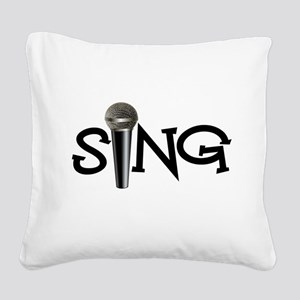 Sing with Microphone Square Canvas Pillow