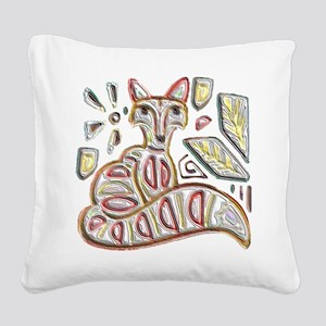 FANCY THE FOX Square Canvas Pillow