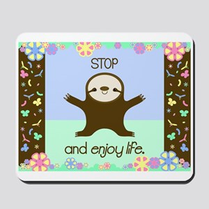 Happy And Cute Sloth Mousepad