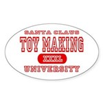 Santa Toy Making University Oval Sticker