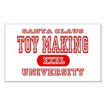 Santa Toy Making University Rectangle Sticker