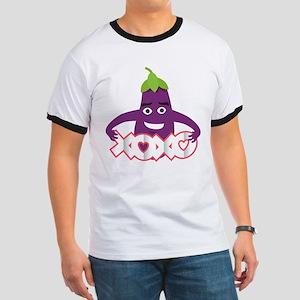 Emoji Eggplant XOXO Ringer T