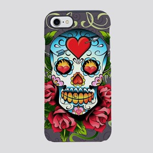 Hearts and Bone Sugar Skull iPhone 7 Tough Case