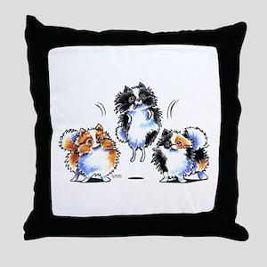 Parti Pomeranians Throw Pillow