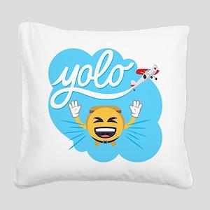 Emoji Smiley Face YOLO Square Canvas Pillow