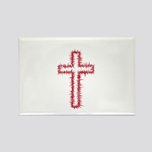 Pretty red christian cross 1 L w Rectangle Magnet