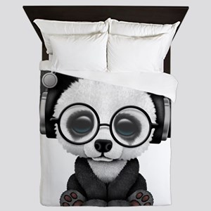 Cute Baby Panda Wearing Headphones Queen Duvet