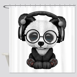 Cute Baby Panda Wearing Headphones Shower Curtain