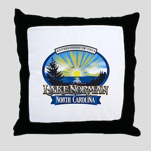 Lake Norman Sun Rays Logo Throw Pillow