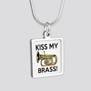 Kiss My Brass Tuba Silver Square Necklace