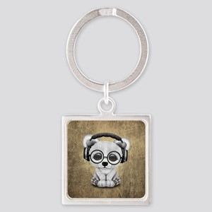 Cute Baby Polar Bear Wearing Headphones Keychains