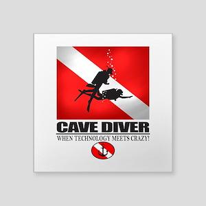 Cave Diver 2 (back) blk Sticker