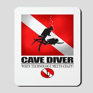 Cave Diver 2 (back) blk Mousepad