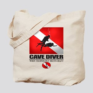 Cave Diver 2 (back) blk Tote Bag