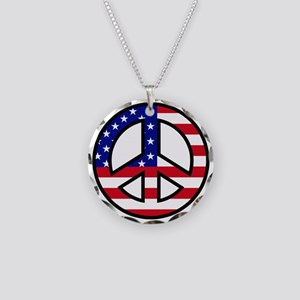 Peace Sign Flag Necklace Circle Charm